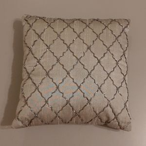 Grey beaded pillow case